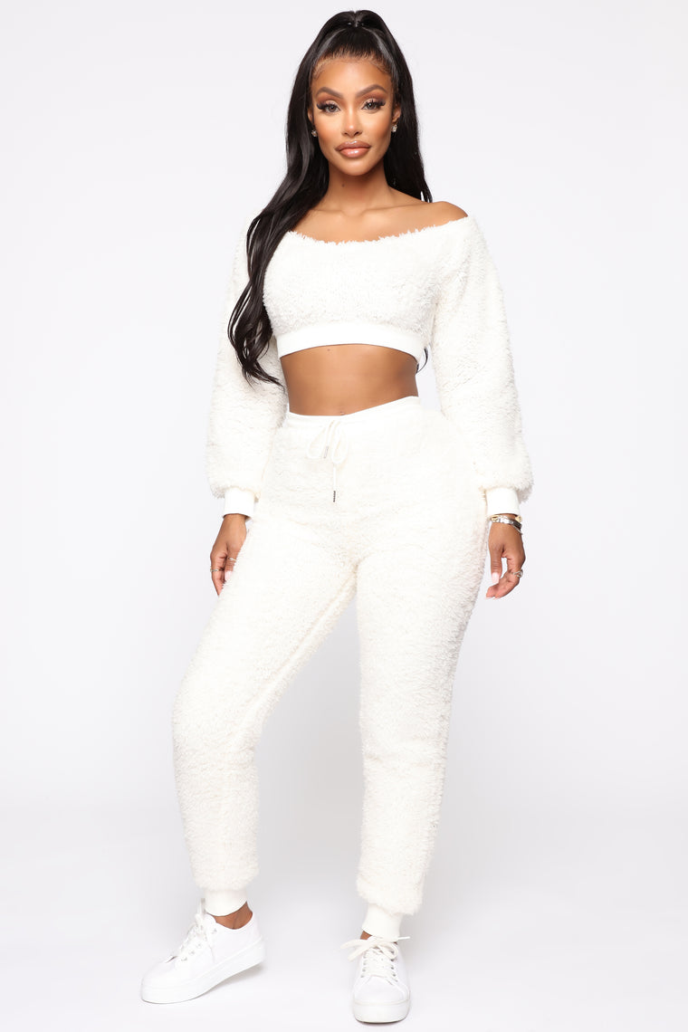 No But Fur Real Pant Set   Ivory by Fashion Nova