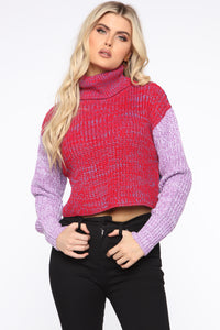 Colorblock My Way Sweater - Magenta/combo