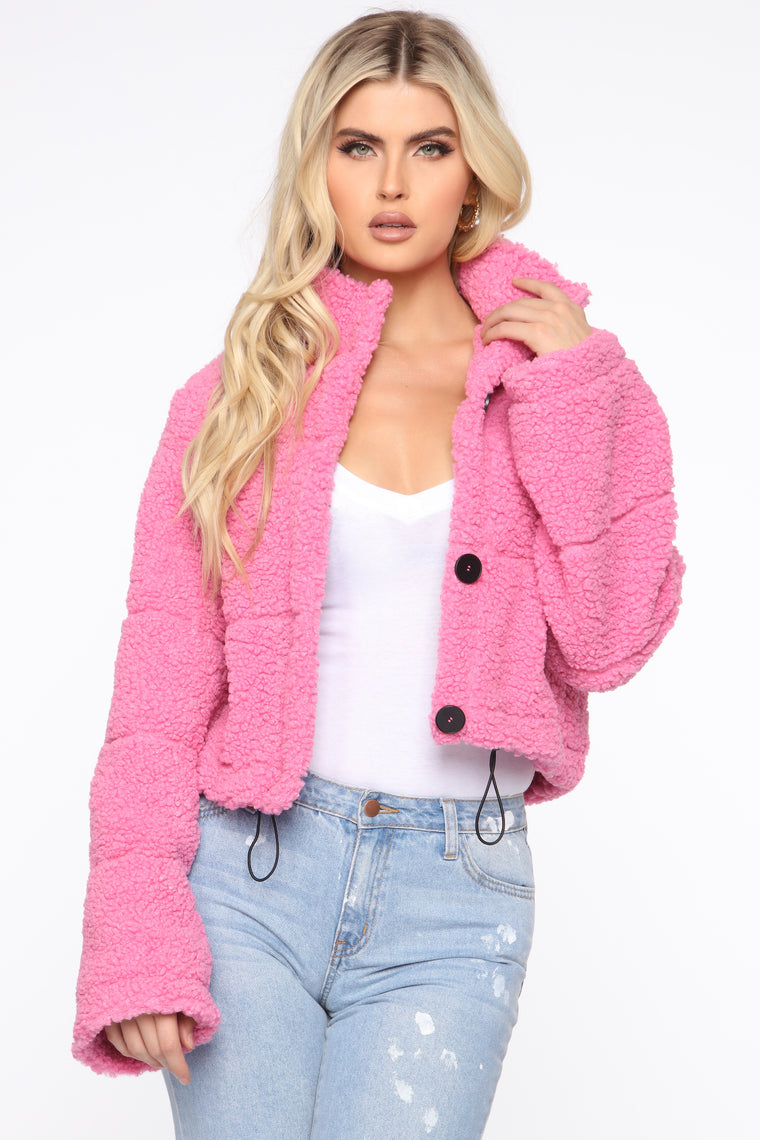 Catch Me In The Cold Fuzzy Jacket - Pink