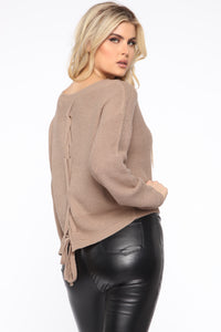 Lia Lace Up Back Sweater - Khaki