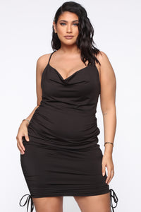 Know Your Worth Ruched Dress - Black Angle 1