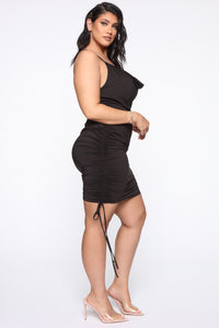 Know Your Worth Ruched Dress - Black Angle 4
