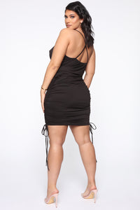 Know Your Worth Ruched Dress - Black Angle 2