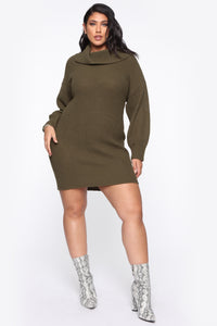 One Cozy Day Mini Dress - Olive