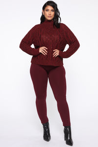 I Feel It Coming Sweater - Burgundy Angle 7