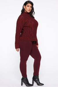 I Feel It Coming Sweater - Burgundy Angle 8