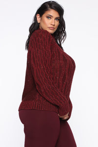 I Feel It Coming Sweater - Burgundy Angle 9