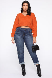 Keep Me Cozy Fuzzy Sweater - Rust Angle 7