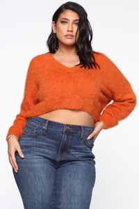 Keep Me Cozy Fuzzy Sweater - Rust Angle 6