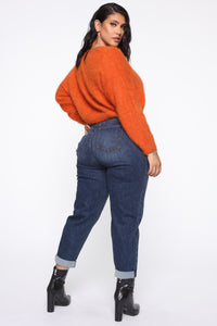 Keep Me Cozy Fuzzy Sweater - Rust Angle 10