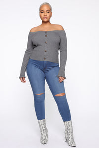Do What Lovers Do Sweater Top - Heather Grey Angle 2