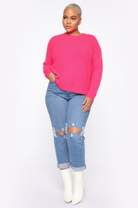Always Remember Convertible Sweater - Neon Pink Angle 3