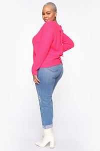 Always Remember Convertible Sweater - Neon Pink Angle 4