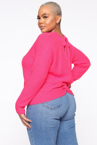 Always Remember Convertible Sweater - Neon Pink Angle 2