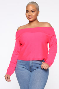 You're A Doll Off Shoulder Top - Neon Pink