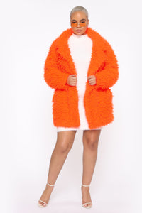 In My Heart Fuzzy Coat - Neon Orange Angle 6