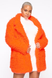 In My Heart Fuzzy Coat - Neon Orange Angle 5