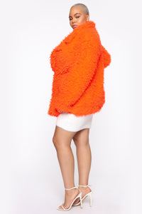 In My Heart Fuzzy Coat - Neon Orange Angle 8