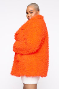In My Heart Fuzzy Coat - Neon Orange Angle 7