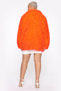 In My Heart Fuzzy Coat - Neon Orange Angle 9