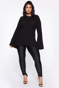 Victoria Bell Sleeve Peplum Top - Black