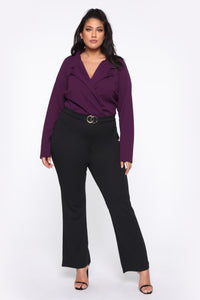 It's Business Bodysuit - Eggplant Angle 2