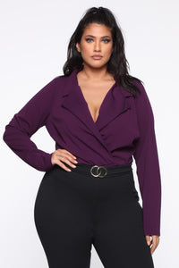 It's Business Bodysuit - Eggplant Angle 1