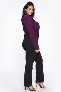 It's Business Bodysuit - Eggplant Angle 4