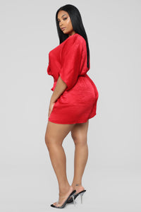 Enchanted Dreams Satin Romper - Red