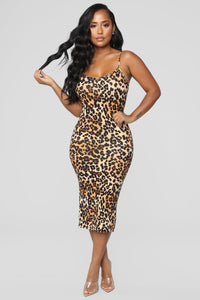 Body Moves Midi Dress - Brown Leopard
