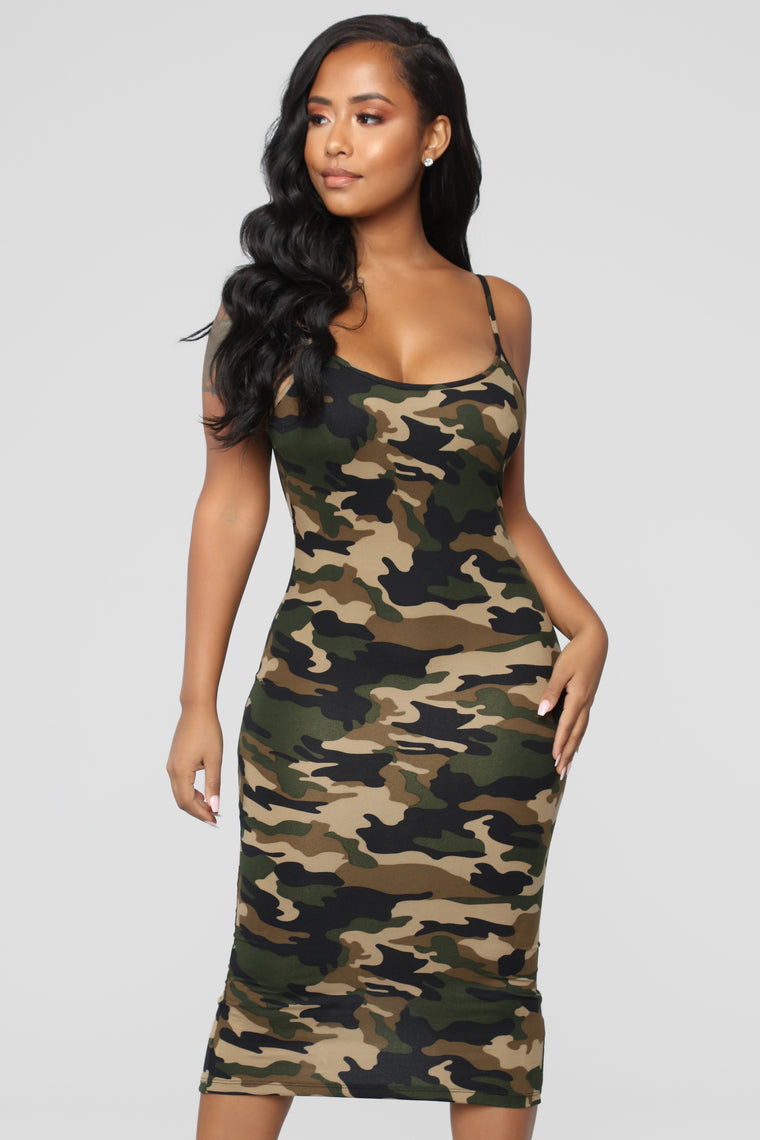 Body Moves Midi Dress - Camo