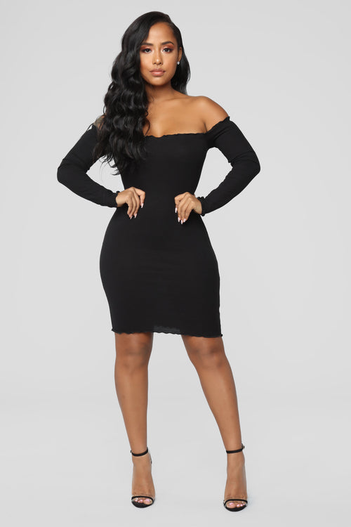 Your Cheatin' Heart Off Shoulder Dress - Black