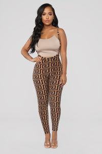 Miss Thang Print Leggings - Brown/combo