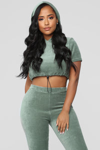 Vibe Velour Lounge Set - Sage