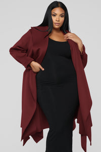 Bossed Up Bow Waist Jacket - Burgundy