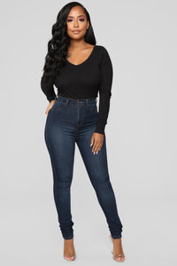 Ashley V Neck Top - Black Angle 2