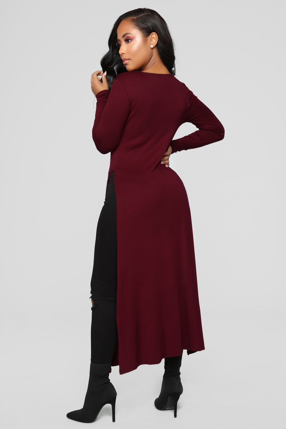 Over Exposed Tunic - Burgundy