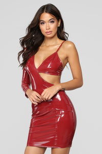 Two Sides Of The Story Mini Dress - Burgundy