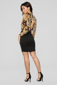 Born A Boss Printed Dress - Black
