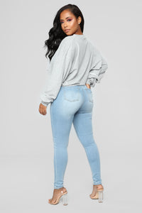 Lets Talk About Love Skinny Jeans - Light Blue Wash Angle 6
