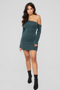 Fuzzy Feels One Shoulder Dress - Hunter