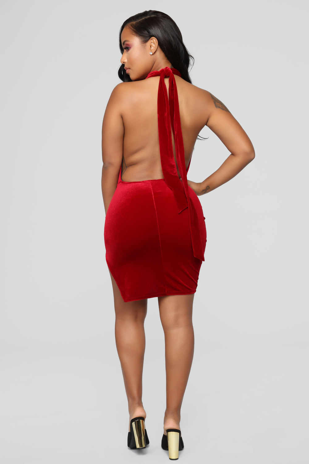 In Lust With You Velvet Dress - Red