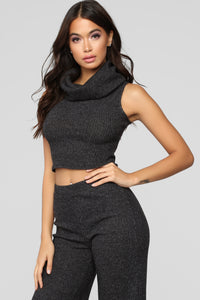 In My Comfort Zone Ribbed Set - Charcoal