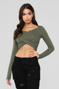 A Little Romance Long Sleeve Top - Olive