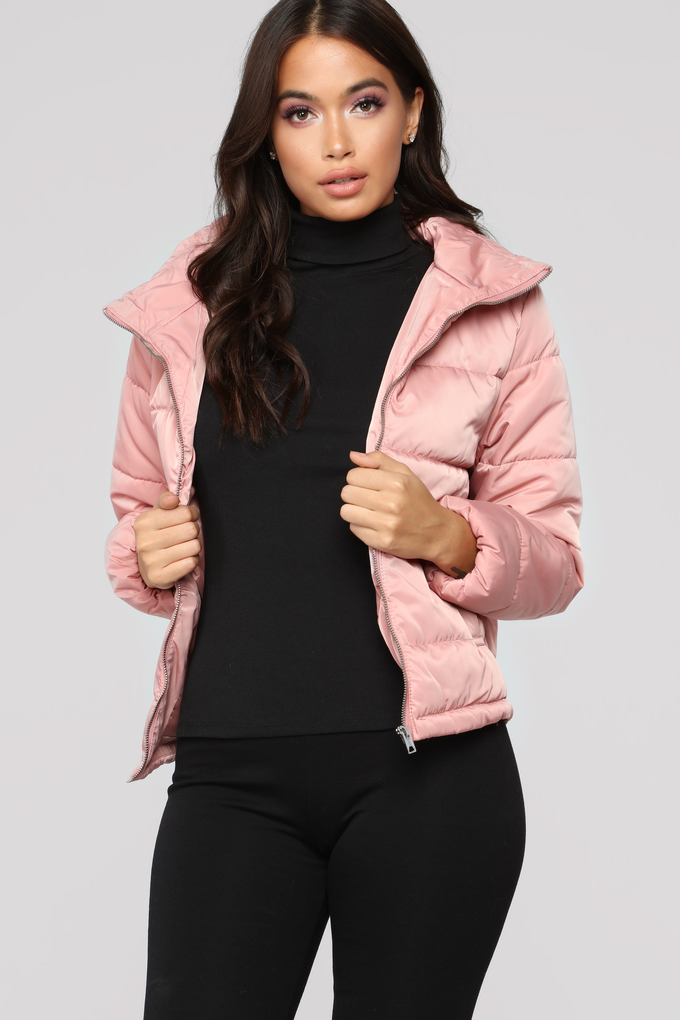 On The Cold Side Puffer Jacket - Mauve
