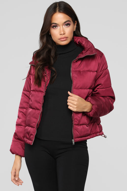 On The Cold Side Puffer Jacket - Burgundy