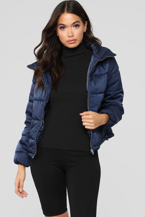 On The Cold Side Puffer Jacket - Navy