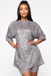 Gotta Shine Sequin Set - Charcoal