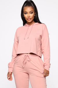 Latest and Greatest French Terry Crop Hoodie - Mauve