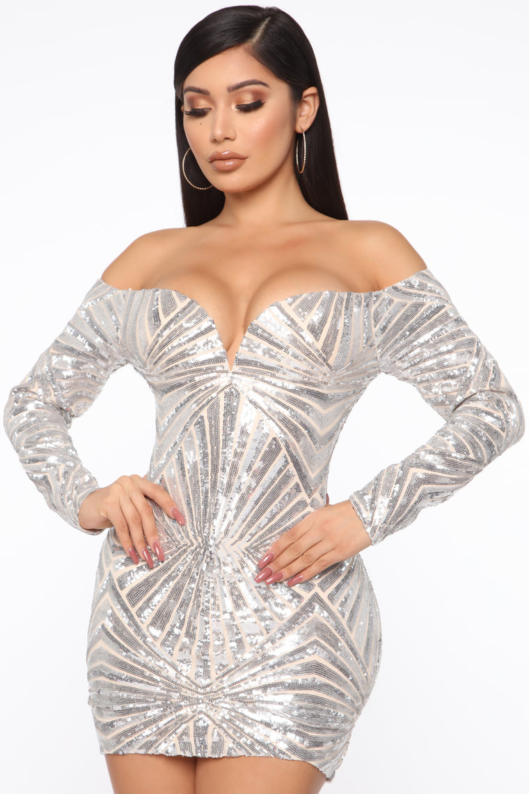 Attention On Me Sequin Mini Dress - Silver